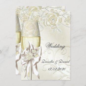 wedding gold cream pearl floral roses 2 invitation