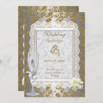 wedding gold  white antique lace floral rings invitation