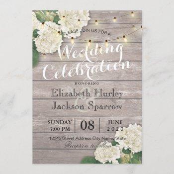 wedding hydrangea flower string lights rustic wood invitation