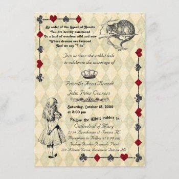 "wedding invitation ""alice in wonderland"" 4x6"