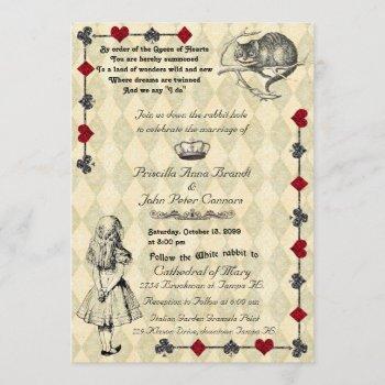 "wedding invitation ""alice in wonderland"" 5x7"