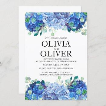 wedding invitation blue hydrangea eucalyptus green