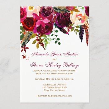 wedding invitation - burgundy floral, feathers