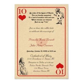 "wedding invitation card ""alice in wonderland"" 5x7"