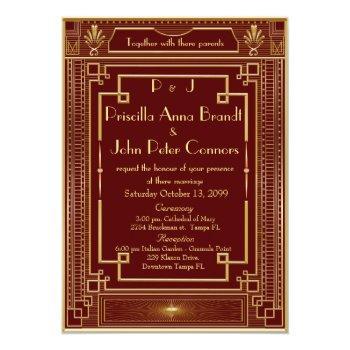 wedding invitation card,great gatsby, red, gold