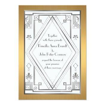 wedding invitation card,great gatsby,silver, gold