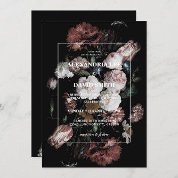 wedding invitation dark black moody floral