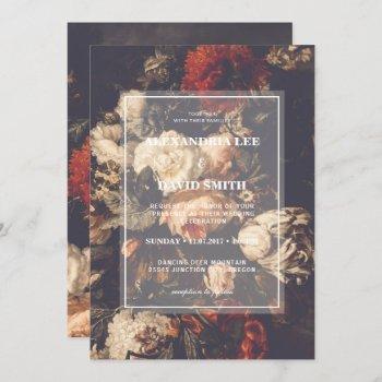 wedding invitation dark moody autumn fall floral