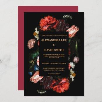 wedding invitation dark red floral black