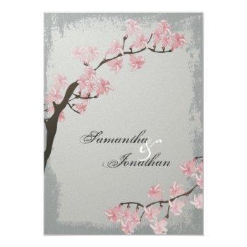 wedding invitation - elegant grey cherry blossom