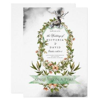 wedding invitation enchanted forest stag floral