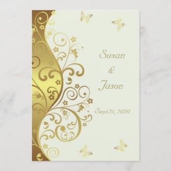 wedding invitation--gold swirls & ivory 5x7 invitation