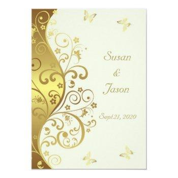 wedding invitation--gold swirls & ivory 5x7 invitation