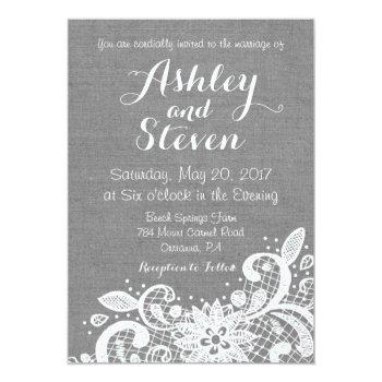 wedding invitation in gray burlap and lace