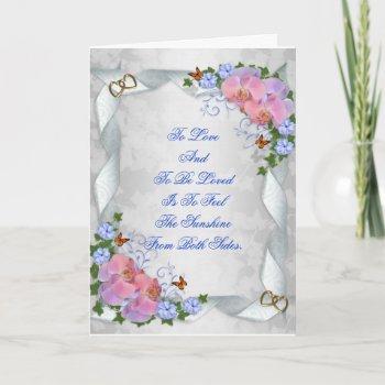 wedding invitation pink orchids elegant