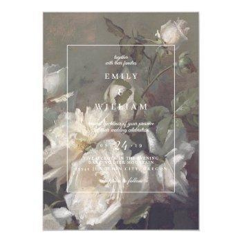 wedding invitation romantic floral white roses