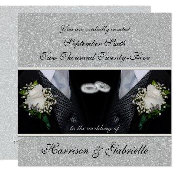 wedding invitation | two grooms | silver damask
