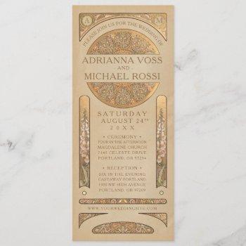 wedding invitations   gold nouveau deco