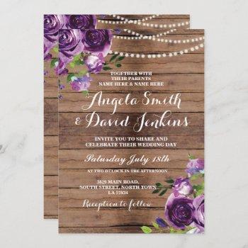wedding invitations rustic wood purple floral