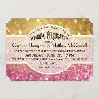 wedding invite bokeh movie ticket style gold pink