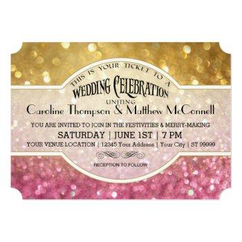 wedding invite bokeh movie ticket style gold pink