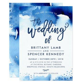 wedding invite modern stylish navy blue watercolor