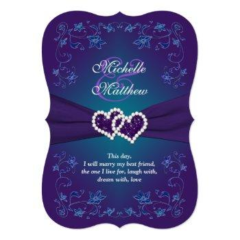 wedding invite | purple, teal, floral, hearts