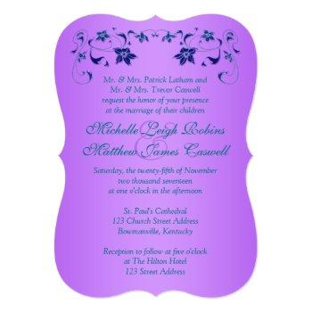 Small Wedding Invite | Purple, Teal, Floral, Hearts Back View