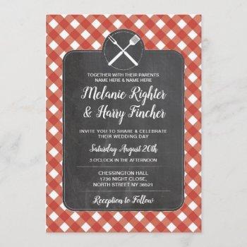 wedding invite red gingham bbq chalk