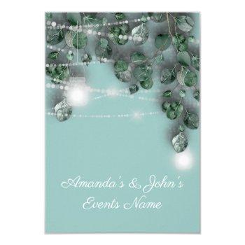 wedding lights jars rustic green blue tiffany invitation