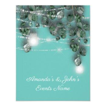 wedding lights jars rustic green mint tiffany invitation