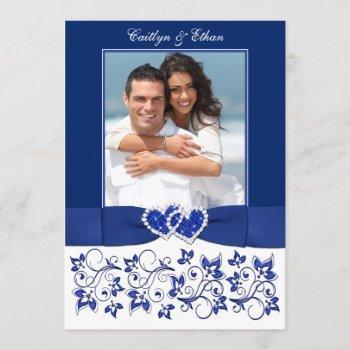 wedding   monogram   blue, white   floral   photo invitation