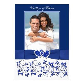 wedding | monogram | blue, white | floral | photo invitation
