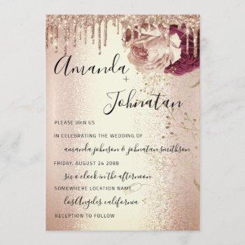 wedding monogram drips florals marsala rose burgun invitation