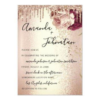 wedding monogram drips florals marsala rose burgun invitation