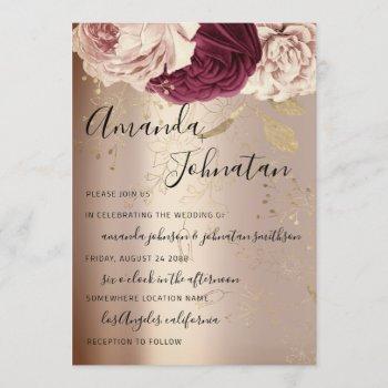 wedding monogram pink florals marsala rose gold invitation