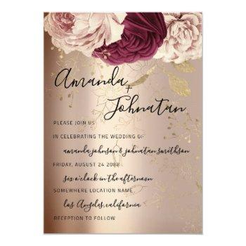 wedding monogram pink florals marsala rose gold invitation