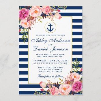 wedding nautical blue stripes pink floral invite