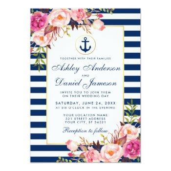 wedding nautical blue stripes pink floral invite