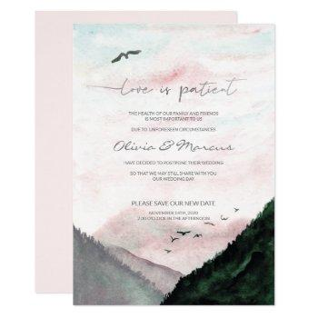 wedding postponed announcement watercolor mountain