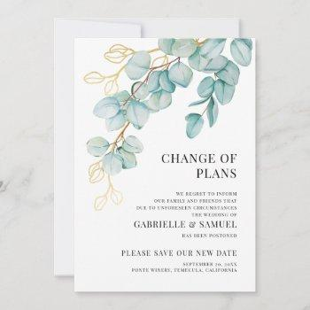 wedding postponed elegant teal and gold eucalyptus announcement