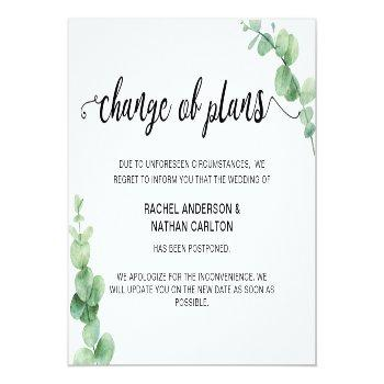 Small Wedding Postponed Eucalyptus Cancellation Simple Announcement Postcard Front View