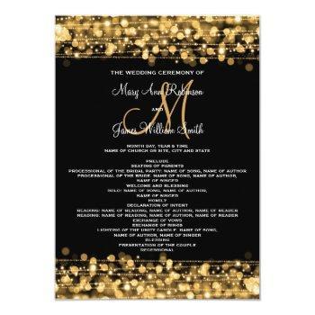 wedding program party sparkles gold