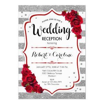 wedding reception - silver white red invitation