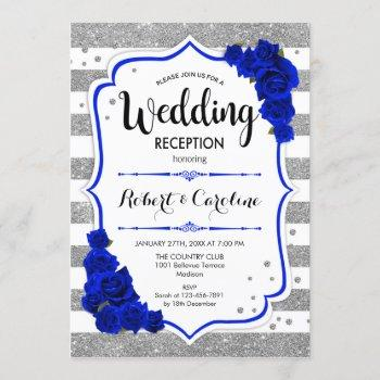 wedding reception - silver white royal blue invitation