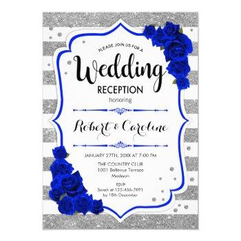 wedding reception - silver white royal blue invitation
