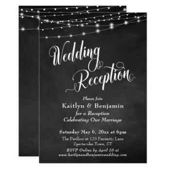 wedding reception typography chalkboard lights invitation