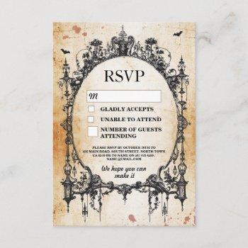 wedding rsvp gothic frame rustic halloween cards