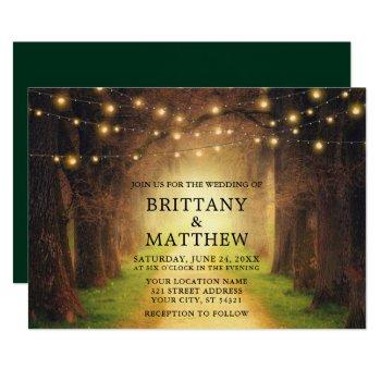 wedding rustic forest path string lights green invitation