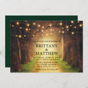 wedding rustic forest path string lights green invitation